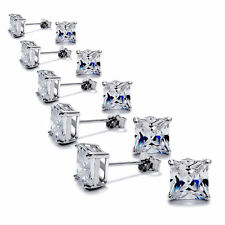 solid 925 Sterling Silver Princess Cut Square CZ Post Stud Earrings