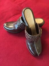 Nurture Womens Brown Leather Marigold Slip On Clogs Wedge Mules Size 8.5 New