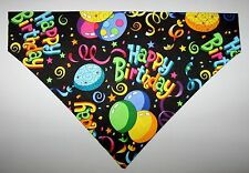 Happy Birthday & Balloons Dog Bandana Scarf-Slide over Collar-Sz Small to XLarge