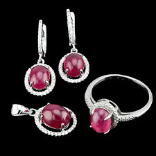 PRECIOUS! REAL 9X7mm/10X8mm OVAL CAB BLOOD RED RUBY,W-CZ SOLID 925 SILVER SET