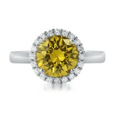 Sterling Silver 2.30 CTW Canary Yellow CZ Halo Womens Ring