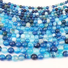 New 1Bunch Blue Striped Agate Stone Spacer Gemstone Beads 4/6/8/10/12mm