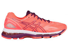 NEW WOMENS ASICS GEL-NIMBUS 19 RUNNING SHOES TRAINERS FLASH CORAL / DARK PURPLE