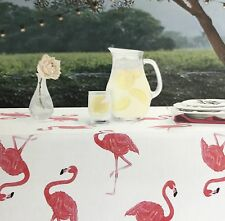 Pink Flamingo Tablecloth by Envogue Colorful Outdoor / Indoor Fabric Tablecloth