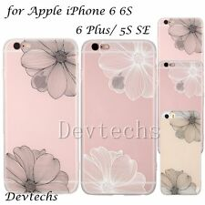 Soft Floral TPU PC Clear Back Full Cover Case for Apple iPhone 5S SE/6 6S/6 Plus