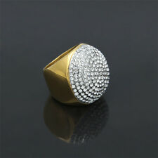 Iced Out Bling LAB Diamond 18K Gold Plated Round Hip Hop Size 7-12 Men's Ring