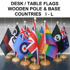 """Desk Table flag with wooden pole & base. 9"""" x 6"""" flag. Countries I-L."""
