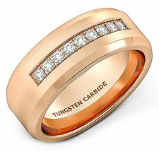 8mm Rose Gold Tungsten Carbide Ring with Cubic Zircon Mens Wedding Band Comfort