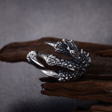 Classic Claw Dragon Harley Biker Gothic Silver Stainless Steel Sz 8-10 Men Ring
