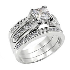 Cubic Zirconia Ring Sterling Silver Wedding Princess Cut Rings Free Shipping