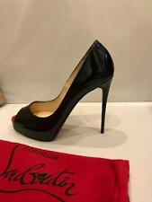 Christian Louboutin NEW VERY PRIVE Patent Platform Pumps Heels Shoes Black $845