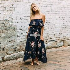 Women Sexy Off Shoulder Floral Print Ruffled Maxi Dress EA9