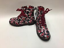 New Girls Stunning Floral Dr Martins Style Rose Floral Boots Select Size