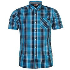 Lee Cooper Short Sleeve Check Shirt Mens Blue/Navy/Teal New With Tags
