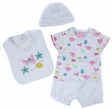 Baby Girls Four Piece Summer Sets Shorts T-shirt Bib And Cradle Cap Two Styles