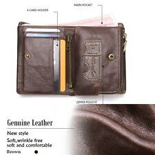 Men's Genuine Leather Credit Card Holder Zipper Wallet Bifold ID Cash Coin Purse