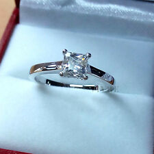 1.20ct Brilliant Princess Cut Diamond Look Engagement Ring 925 Sterling Size J-S