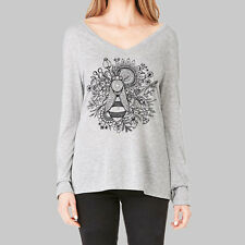 Womens Long Sleeve Tops - T Shirt, V Neck Shirts, Bee and Flower, Bella Flowy