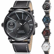 OHSEN Mens Quartz Wrist Watch Leather Waterproof Dual Time Military Sport Analog