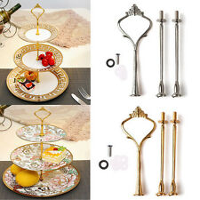 2/3 Tier Cake Plate Stand Crown Handle Fitting Rod Wedding Party Stand Flowery