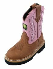 John Deere JD2185 Toddler Tan/Pink Leather Wellington Pull On Boots