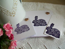 New Rabbit Birthday Card Notelet Gift tag purple Indigo Flowers 3 in each Pack
