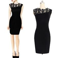 Sexy Lace Sleeveless Bodycon Pencil Stretch Club Cocktail Party Black Dress