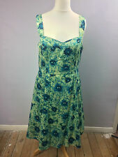 John Rocha Green & Blue Floral 50s Rockabilly Netted Tea Dress Size 18