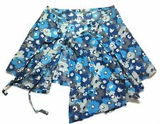 *Patagonia Blue Floral Wrap Pleated A-Line Skirt 100% Organic Cotton Women 8 M