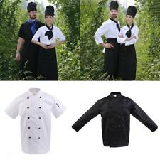 Unisex Double Breasted Short Long Sleeve Chef Jacket Coat Uniform Cook Clothes