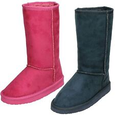Girls Spot On Fur Lined Calf Length Pull On Boots