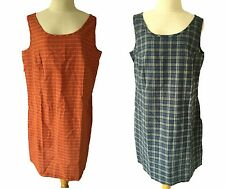 NWT Patagonia Women's Sunspot Dress Pocket Blue Orange Check Plaid Easy Fit L