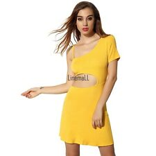 FINEJO Sexy Women One Shoulder Waist Cut Out Solid Slim Mini Cocktail Dress LM02