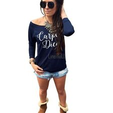 New Fashion Sexy Womens Long Sleeve Latter Print Loose Bottoming T-Shirt LM02