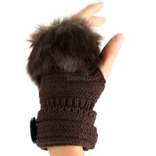 Fashion Winter Warm Women Button Faux Fur Knit Crochet Fingerless Gloves LM02