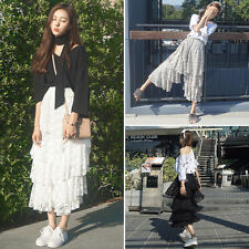 Ladies Summer Tiered Lace Cropped Pants Mesh Boho Skirt Look Trousers Loose Cute