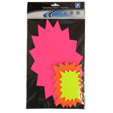 Neon Fluorescent Display / Pricing Card Packs - Flash Shape - 3 Sizes Available