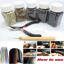 Feather Hair Extension Silicone Micro Link Beads & Pot Hook Pliers & hook Tool