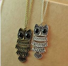 New Women Fashion Vintage Style Bronze Owl Long Chain Necklace Pendant Jewelry