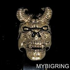 STUNNING BRONZE MENS RING DIABOLO HORNED DEMON FACE HELLBOY ANTIQUED ANY SIZE