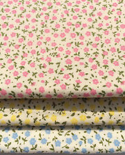 'Forget Me Not' Blue & Cream 100% Cotton Poplin Ditsy Floral Fabric Material