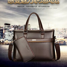 Men Briefcase Leather Bag Business Shoulder Messenger Bag Laptop Handbag Attache