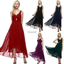 ANGVNS Women Sleeveless Ruched Chiffon Maxi Cocktail Party Evening Fromal OK02