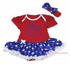 4th July Miss America Red Bodysuit Girl Patriotic Star Baby Dress Outfit NB-18M