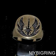 BRONZE MENS RING CLONE WARS JEDI COAT OF ARMS RAISING STAR ANTIQUED ANY SIZE