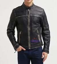 Men Washed and Waxed 100% Real Sheep Leather jacket Fashion Distressed Vintage