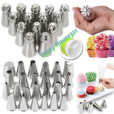 Pro Stainless Steel Flower Russian Icing Piping Nozzles Tips Sets With 1 Coupler