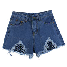 SUMMER WOMEN GIRL VINTAGE HIGH WAISTED DENIM SHORTS HOTPANTS CASUAL RIPPED JEANS