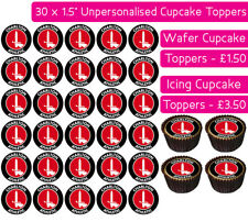 30 CHARLTON ATHLETIC FOOTBALL TEAM EDIBLE WAFER & ICING CUPCAKES TOPPERS FC