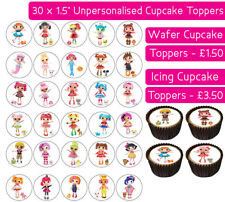 30 LALALOOPSY EDIBLE WAFER & ICING CUPCAKES TOPPERS BIRTHDAY PARTY STITCH DOLLS